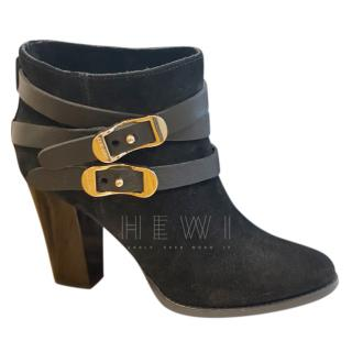 Jimmy Choo Black Leather Buckle Detail Ankle Boots