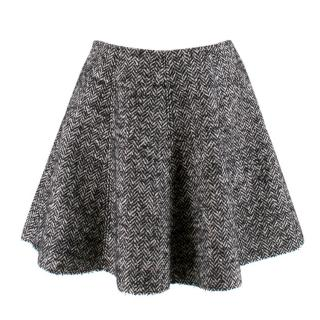 MSGM black herringbone a-line skirt