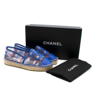 Chanel Red, White, and Blue Mesh Espadrilles