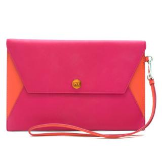 Christian Dior Pink and Orange Block Clutch