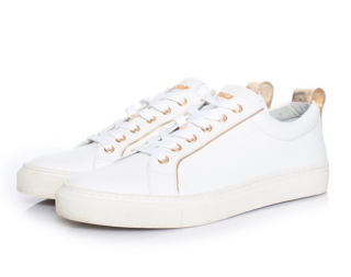 Balmain White & Gold Leather Low Top Sneakers