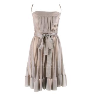 Chanel Metallic Silver Pleated Dress