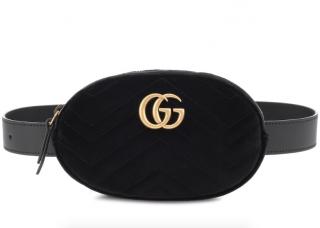Gucci Black Velvet Marmont Belt Bag