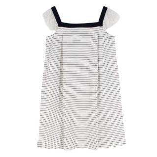 Jacadi white & navy striped mini dress