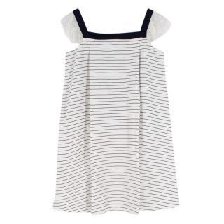 Jacadi white & navy striped mini dress