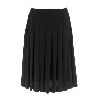 Chanel Black Pleated Chiffon Skirt