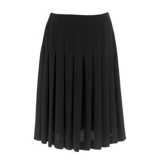 Chanel Black Pleated Chiffon Skirt