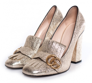 Gucci Metallic Marmont Fringed Loafer Pumps