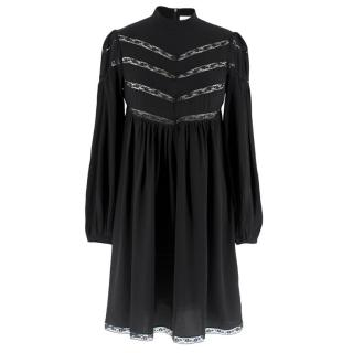Zimmermann silk black high neck mini dress