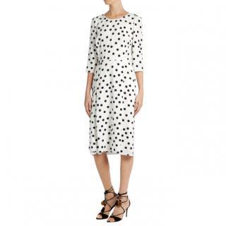 Dolce & Gabbana white polka-dot crepe dress