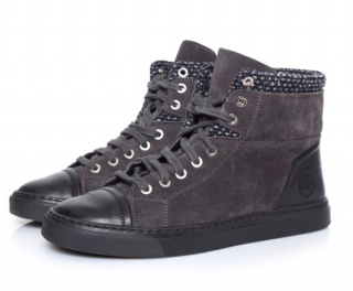 Chanel Suede & Leather High Top Sneakers