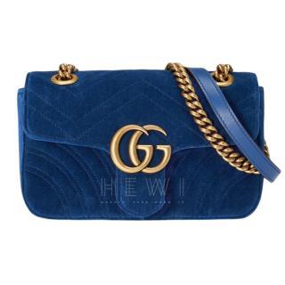 Gucci Blue Velvet Marmont Shoulder Bag
