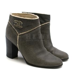 Chanel Crackled Suede Shearling Lined Ankle Boots