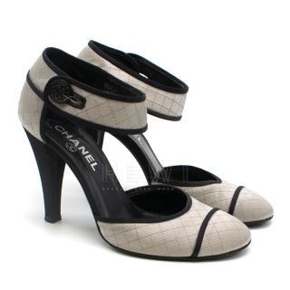 Chanel Diamond Stitch Silver & Black Round Toe Sandals