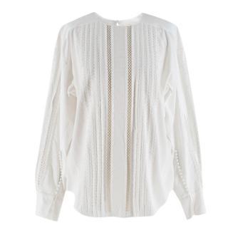 Chloe White Button-Sleeve Lace-Trim Cotton Blouse
