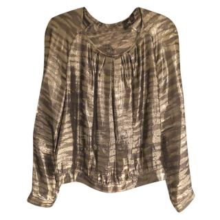 Mulberry Gold Lurex Silk Blouse