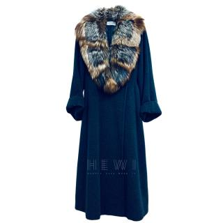 Clips Virgin Wool & Angora Coat W/ Fox Fur Collar