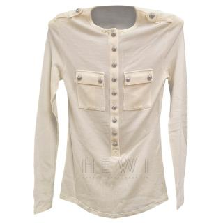 Balmain Cream Cashmere Blend Top
