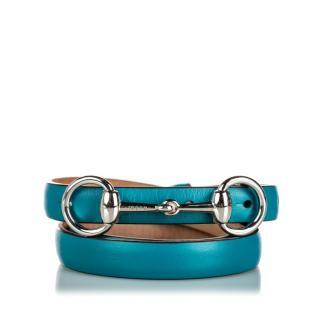 Gucci Blue Horsebit Leather Waist Belt