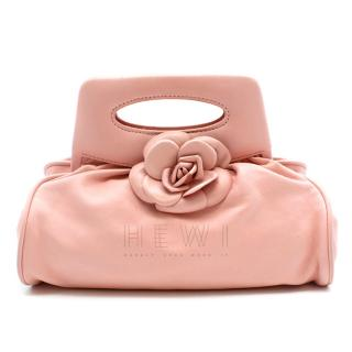Chanel Pink Leather Camellia Top Handle Bag