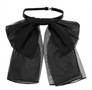 Saint Laurent Black Chiffon Bow Neck Tie