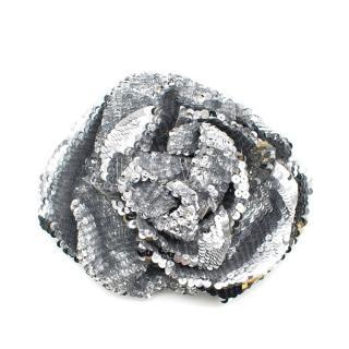 Chanel Silver Sequin Camellia Brooch