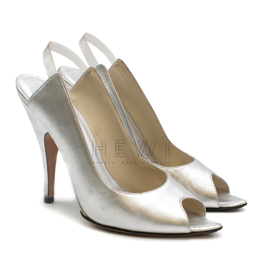 Gucci by Tom Ford Silver Point Toe Slingback Sandals