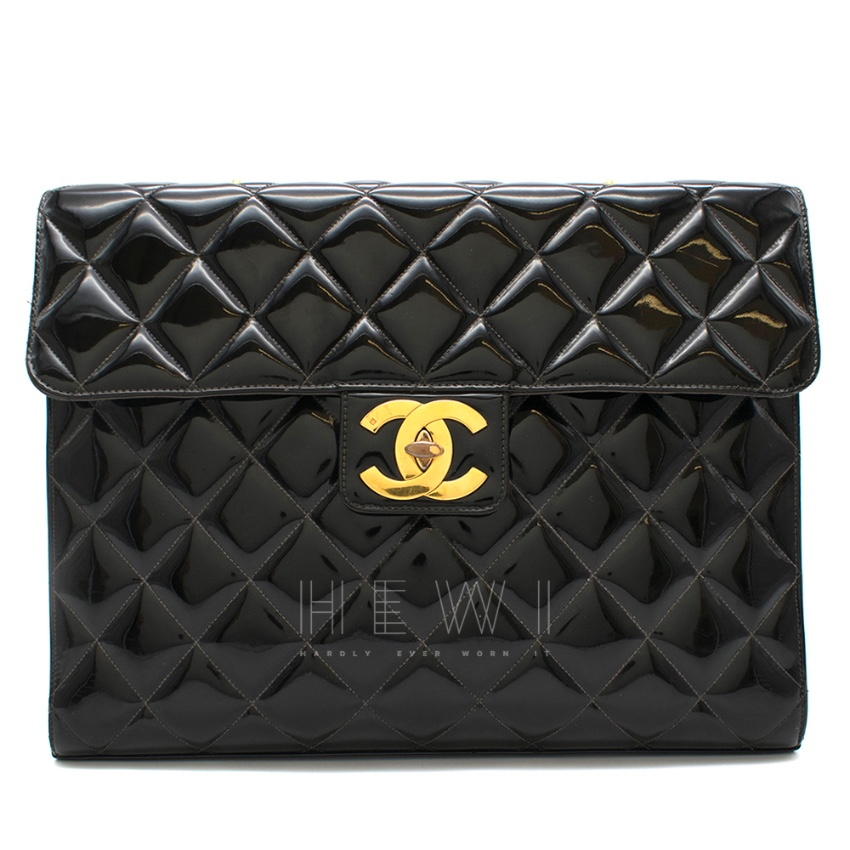 Chanel Black Patent Leather Maxi Clutch