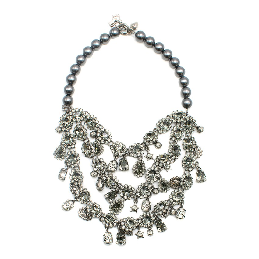 Otaku Couture Antiqued Silver and Black Pearl Statement Necklace