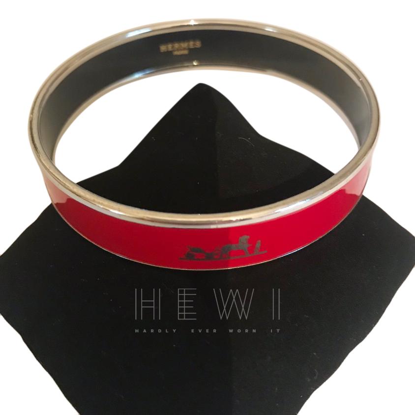 Hermes Red Caleche Enamel Bracelet