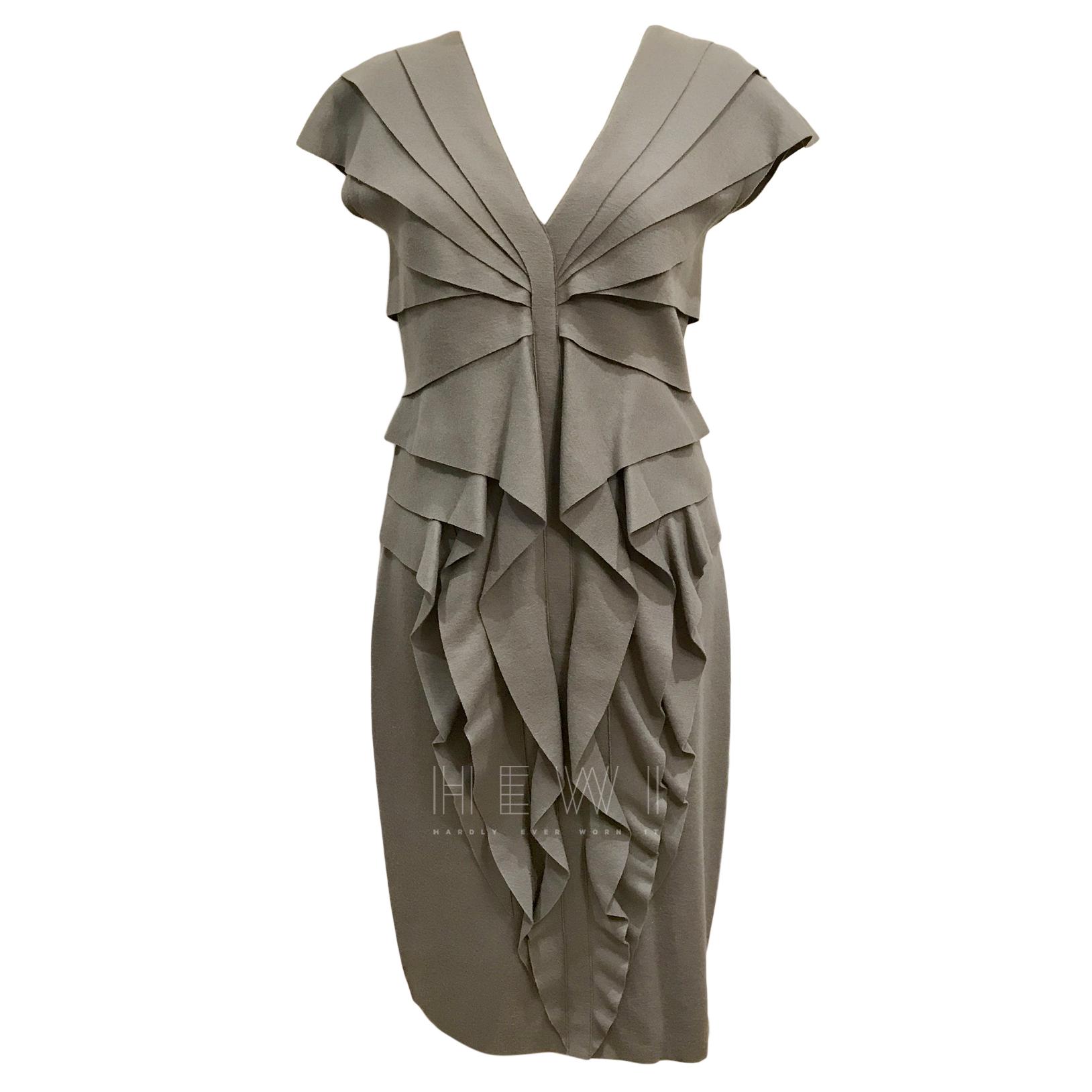 Fendi Grey Ruffled Wool Felt Dress