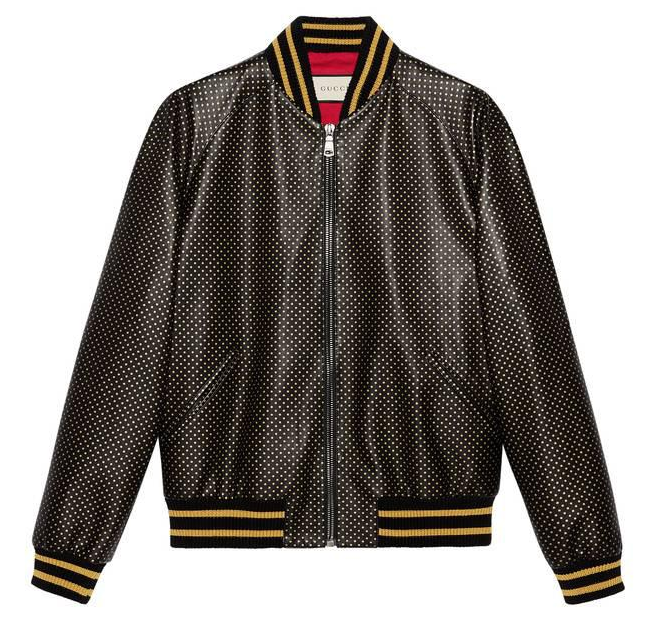 Gucci Men's Black Guccy Leather Bomber Jacket