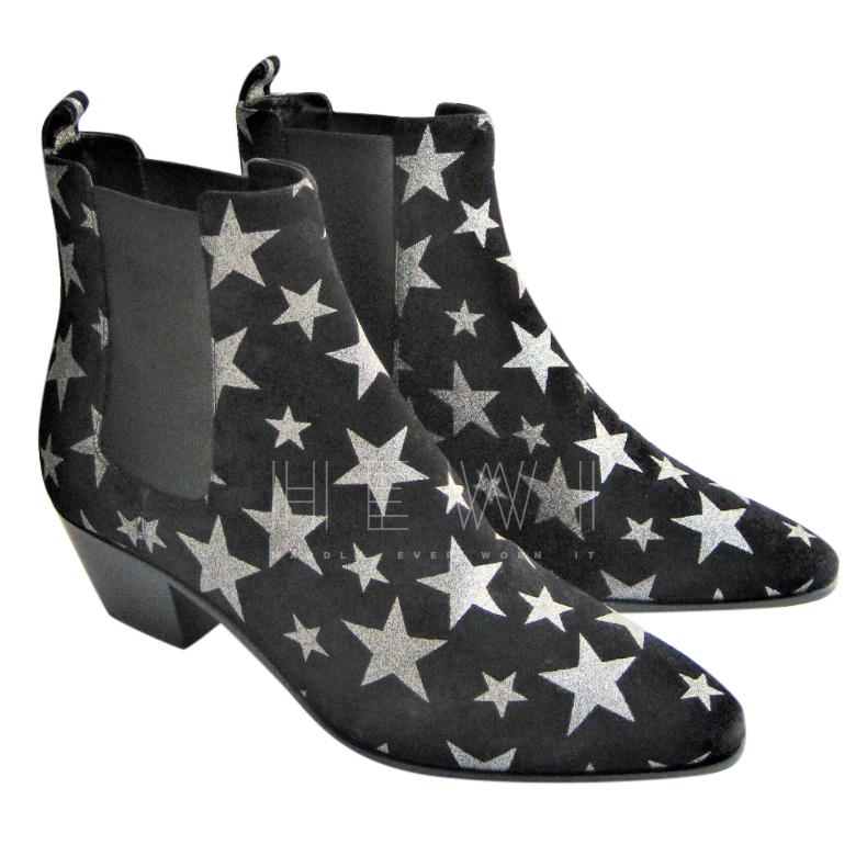 Saint Laurent Star Print Black Chelsea Boots