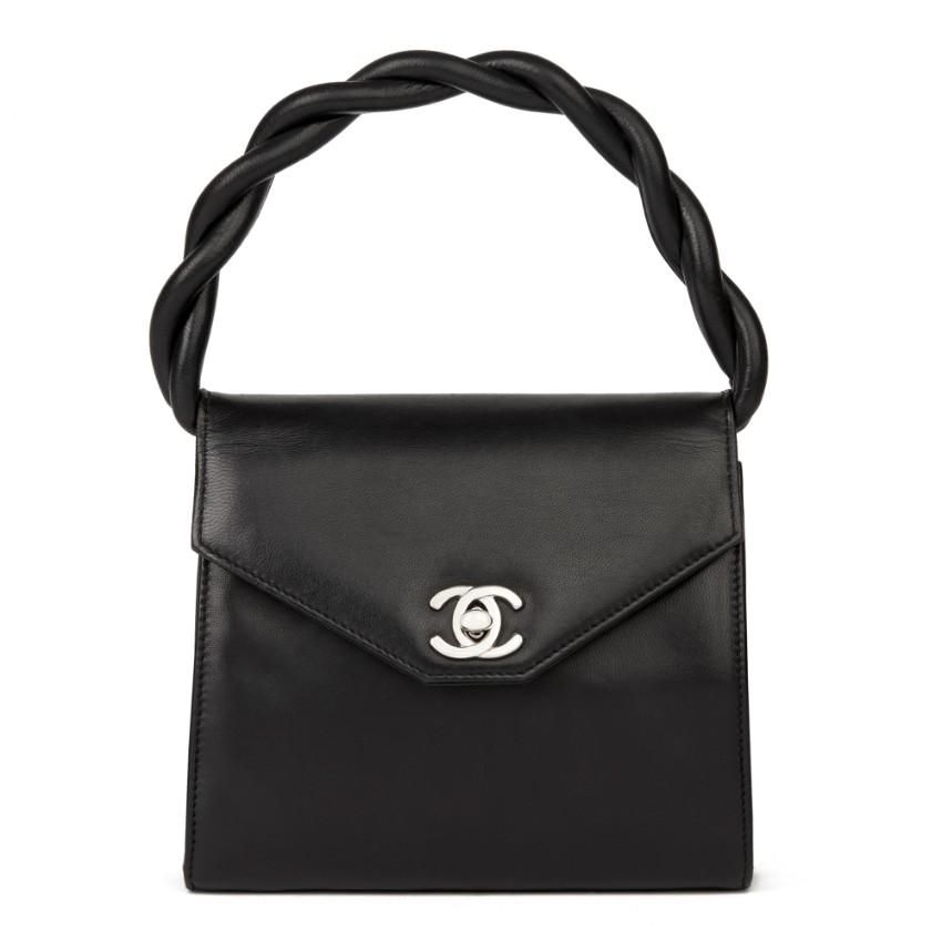 Chanel Vintage Black Leather Mini Kelly Top Handle Bag
