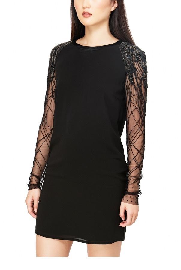 Jasmine Di Milo Black Embellished Silk Mini Dress