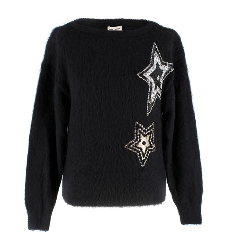 Saint Laurent Black Mohair Star Embellished Jumper
