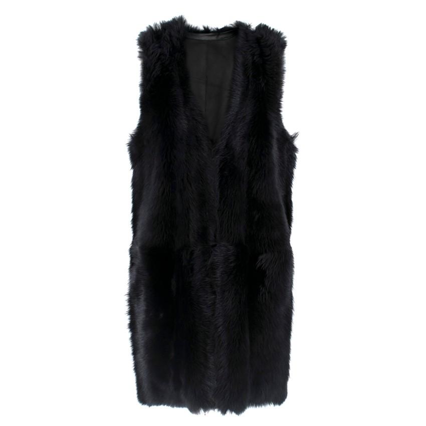 Karl Donoghue Black Faux Fur Sleeveless Jacket