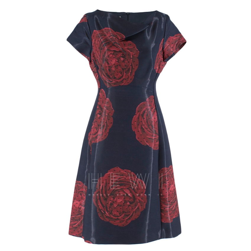 Moschino Navy Rose Print Midi Dress