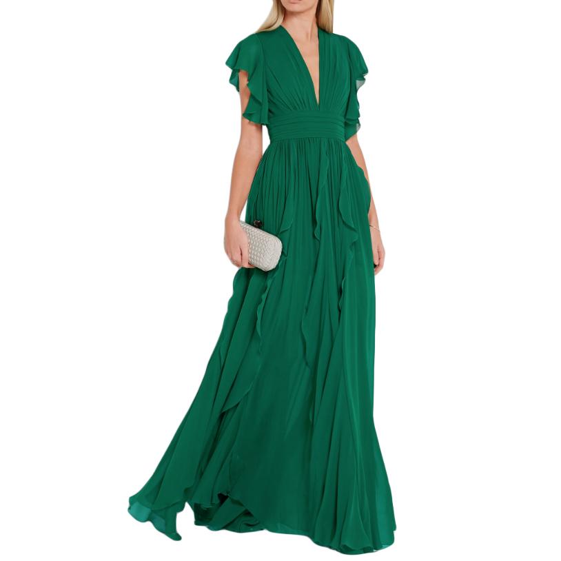Elie Saab green silk ruffled lace trim gown