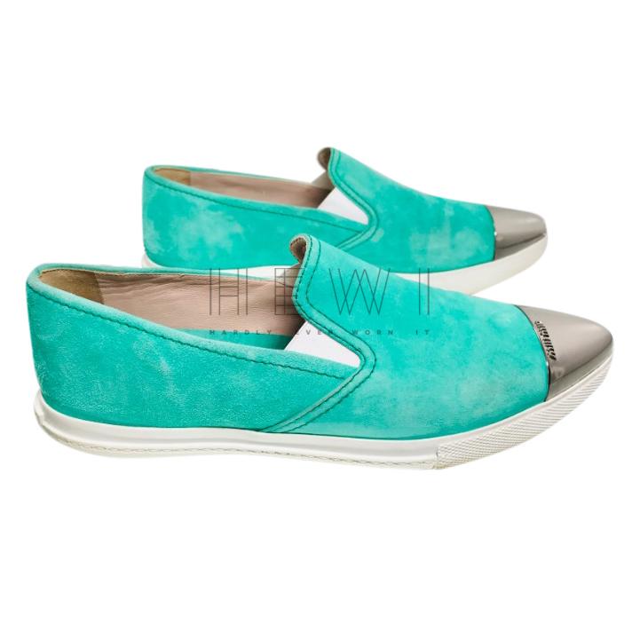 Miu Miu turquoise suede sneakers