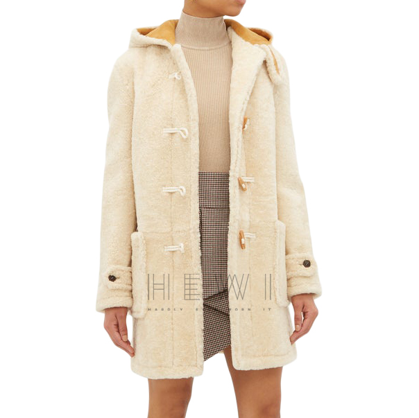 Saint Laurent Duffle Hooded Coat in Shearling