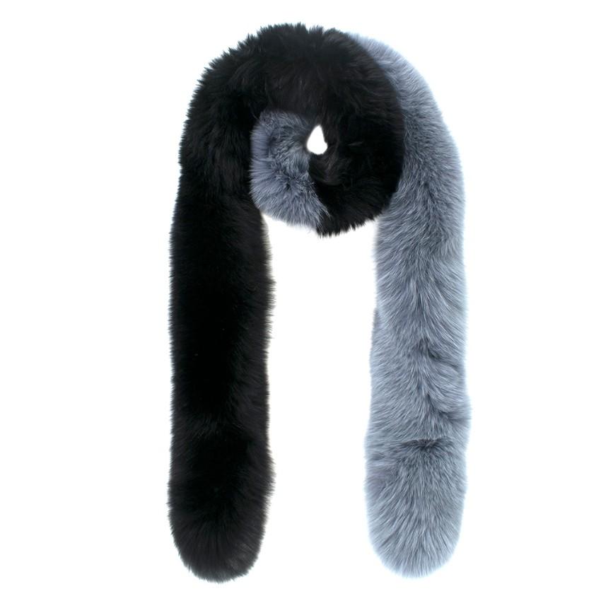 Charlotte Simone Color-Block Fox Fur Popsicle Scarf