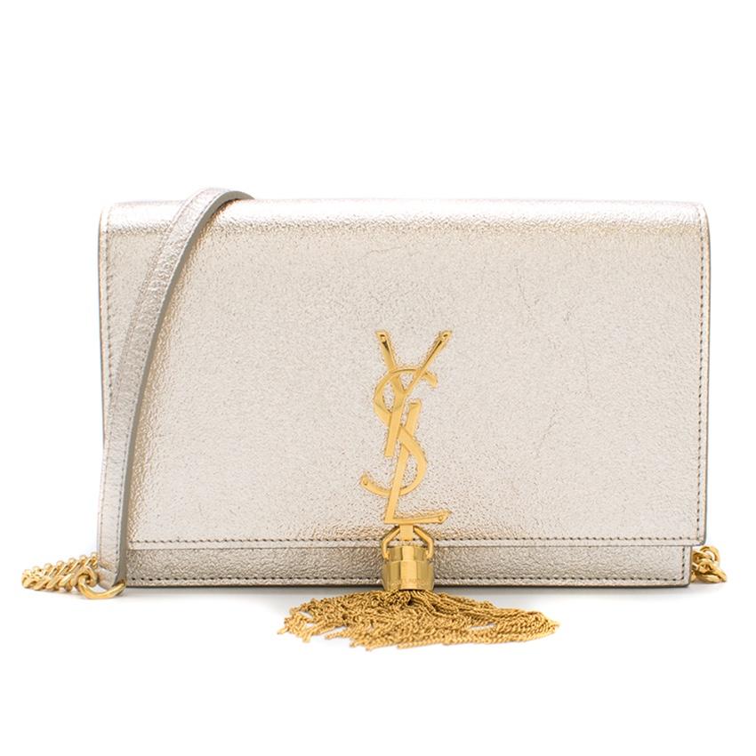 Saint Laurent Platine Silver Metallic Kate Tassel Bag