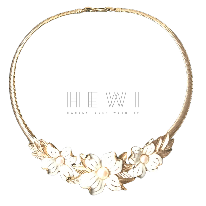 Nina Ricci Vintage Floral Enamel & Pearls Collar