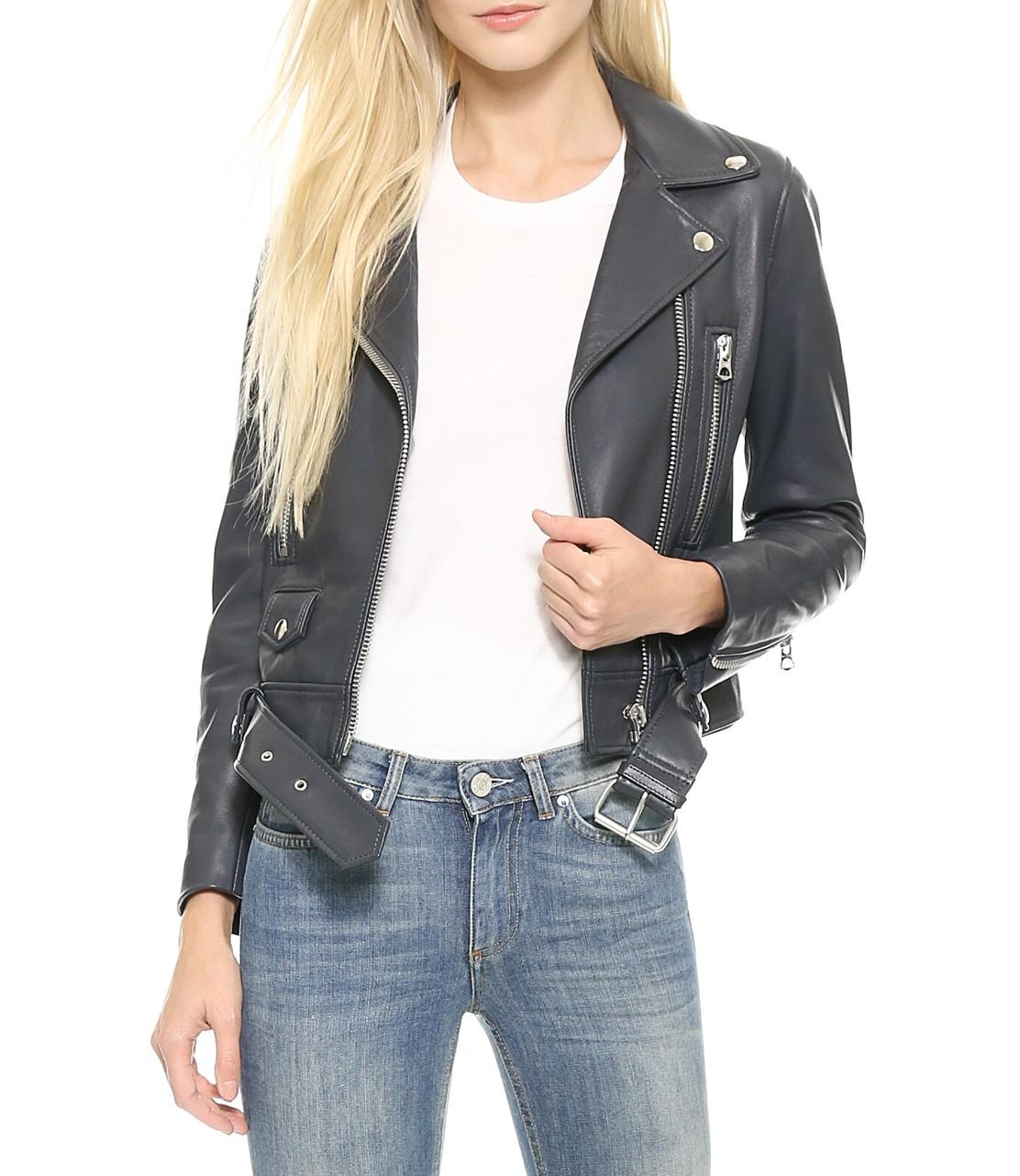 Acne Studios Grey Mock Leather Moto Jacket