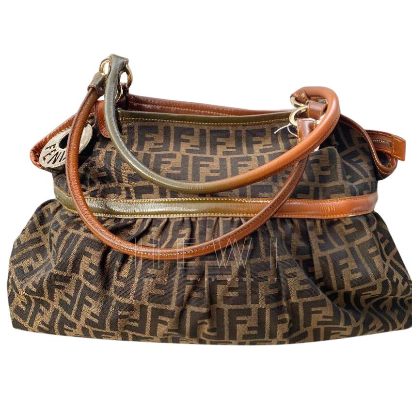 Fendi Zucca Print Canvas & Leather Hobo Bag