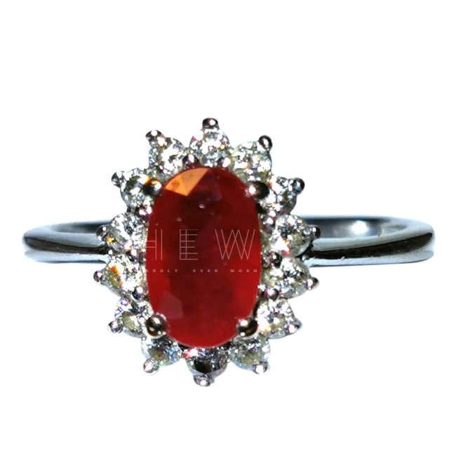 Bespoke ruby and diamond cluster ring