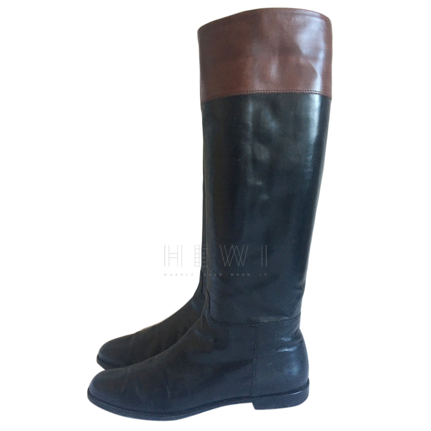 outlet on sale best sneakers new products Salvatore Ferragamo black & brown leather riding boots