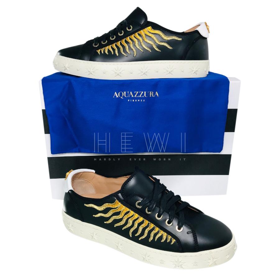 Aquazzura Black Leather Sun Ray Sneakers