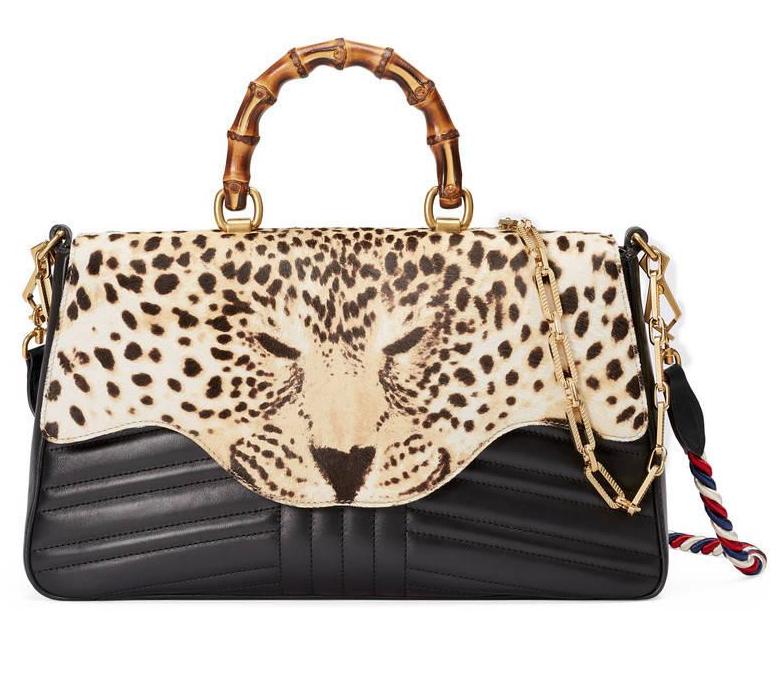 Gucci Brown Leopard Print Top Handle Bag